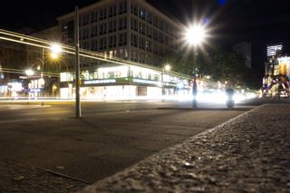 Long exposure of car lights at night in Tauentzienstraße, Berlin, Germany